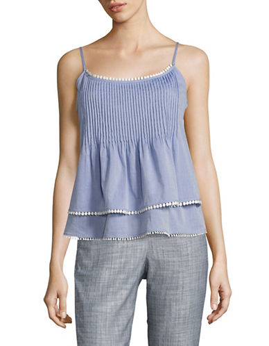 T Tahari Embroidered Cotton Tiered Tank-BLUE-X-Large