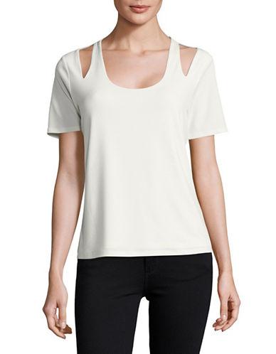 T Tahari Knit Cutout Shirt-NATURAL-Medium