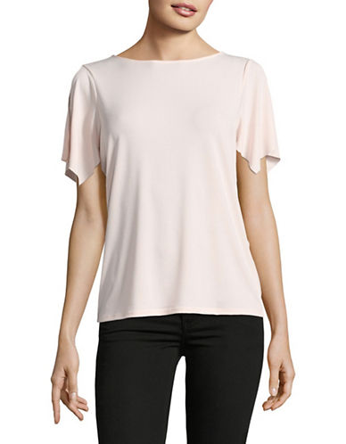 T Tahari V-Back Split Sleeve Top-PINK-Small 89094028_PINK_Small