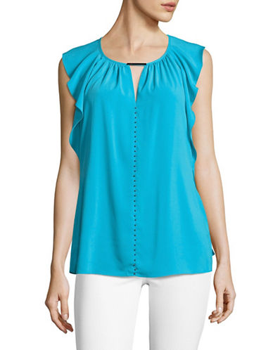 T Tahari Mauve Tie-Neck Blouse-BLUE-Small