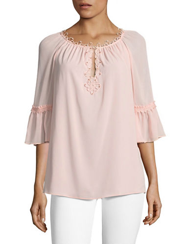 T Tahari Pria Mixed Media Blouse-BUBBLES-Medium
