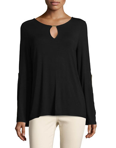 T Tahari Chloe Studded Stretch Top-BLACK-Large 89338507_BLACK_Large