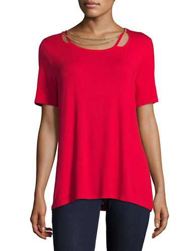 T Tahari Chain Detail Tee-RED-X-Small
