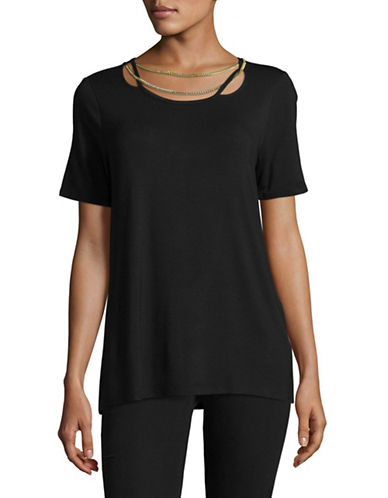 T Tahari Chain Detail Tee-BLACK-Small