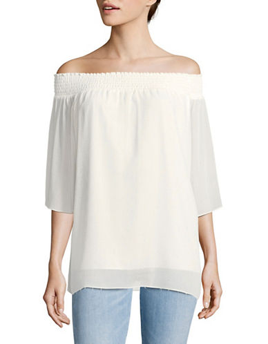 T Tahari Cecilia Embellished Off-Shoulder Blouse-BEIGE-Large