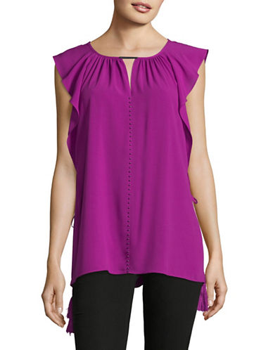 T Tahari Flutter Sleeve Blouse-PURPLE-X-Small