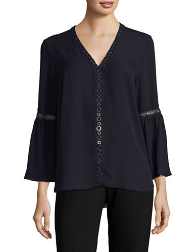 T Tahari Embellished Jasmine Blouse-BLUE-Medium
