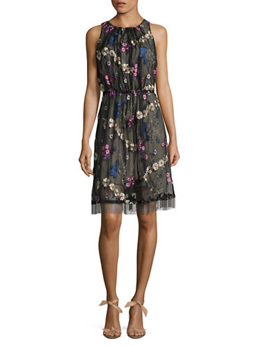 T Tahari Talia Floral Embroidered Dress-BLACK MULTI-12