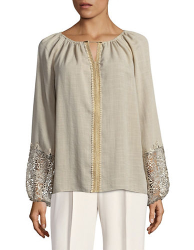 T Tahari Beckett Peasant Blouse-BEIGE-X-Small