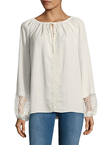 T Tahari Beckett Beaded Blouse-WHITE-X-Large