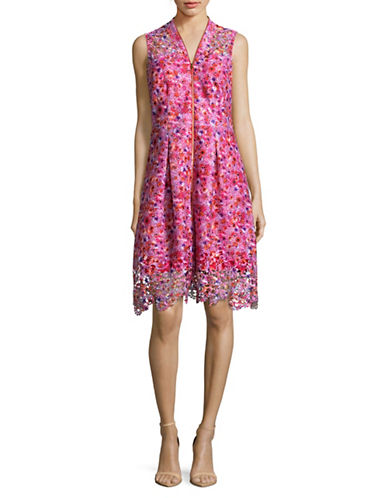 T Tahari Printed Lace Fit-and-Flare Dress-RED MULTI-10