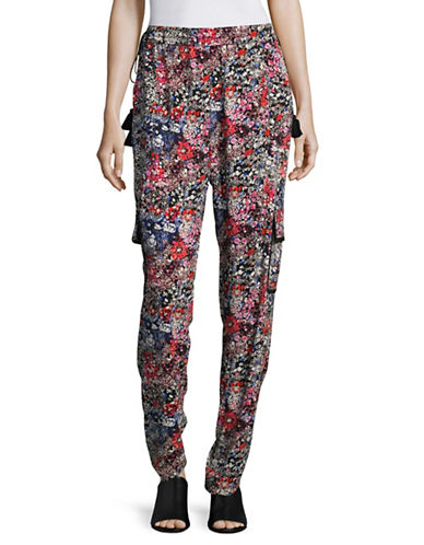 T Tahari Molly Floral Soft Pants-GREY MULTI-Small