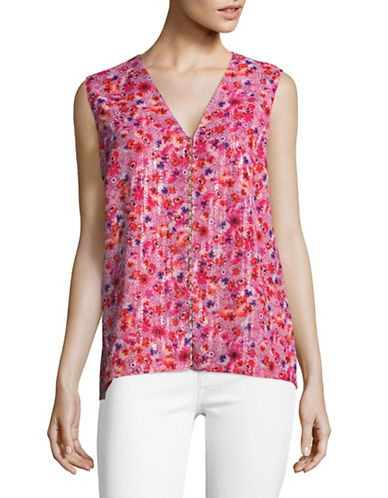 T Tahari Maura Sleeveless Blouse-RED-Small