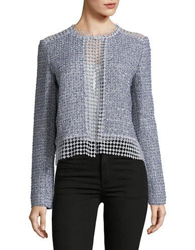T Tahari Annabeua Metallic Tweed Open Back Jacket-BLUE-14
