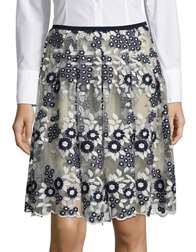 T Tahari Floral Embroidered Skirt-BLUE MULTI-12