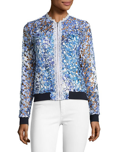 T Tahari Garden Lace Bomber Jacket-WHITE-Small 89273661_WHITE_Small