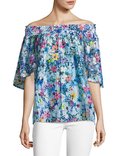 T Tahari Floral Lace Off-The-Shoulder Top-WHITE-Medium