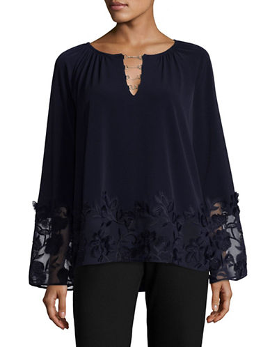 T Tahari Laurie Knit Top-BLUE-Medium