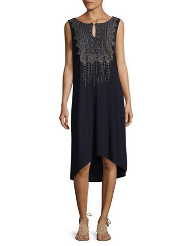 T Tahari Sema Crochet Front Shift Dress-BLUE-Small