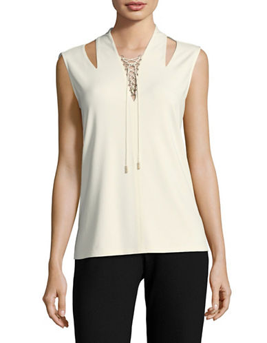 T Tahari Shannon Knit Sleeveless Lattice Top-BIEGE-Large