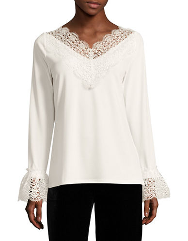 T Tahari Lace Bell Sleeve Top-BROWN-Medium