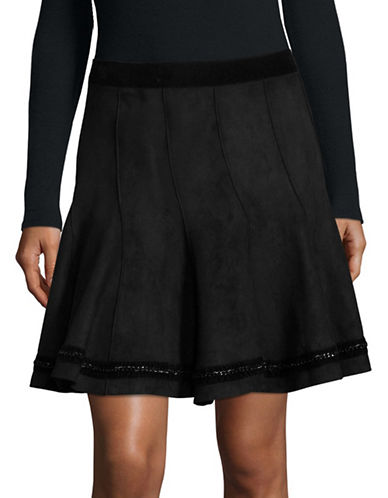 T Tahari Carlisle Chain-Trim Skirt-BLACK-16