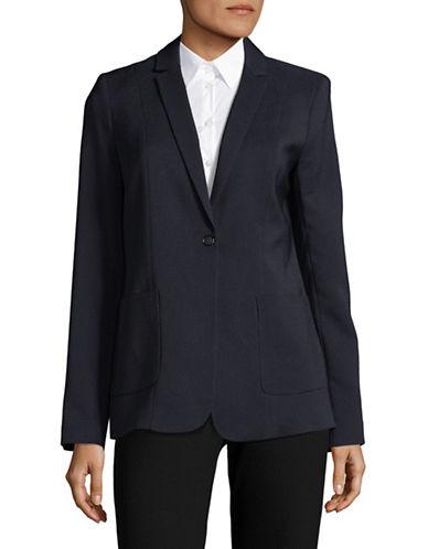 T Tahari Minimalistic Textured Blazer-BLUE-2