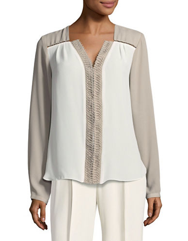 T Tahari Leslie V-Neck Blouse-BROWN-Large