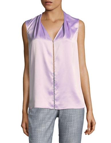 T Tahari Beaded Satin Blouse-PURPLE-Small