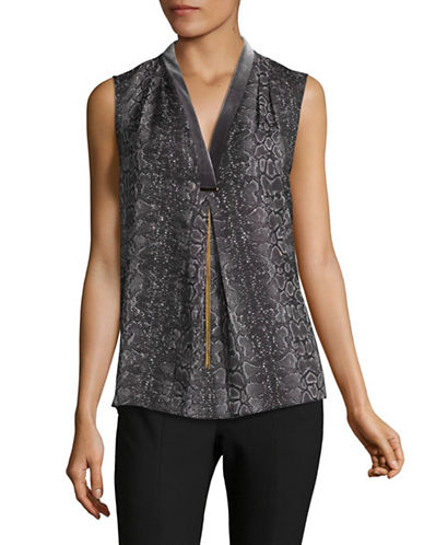 T Tahari Sleeveless Blouse-BLACK MULTI-Large