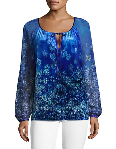 T Tahari Beckett Shirred Blouse-BLUE-Large