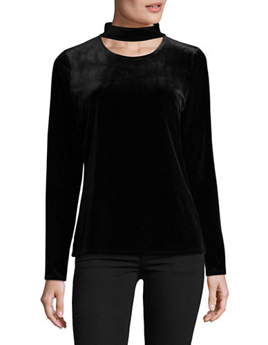 T Tahari Jersey Knit Top-BLACK-Large