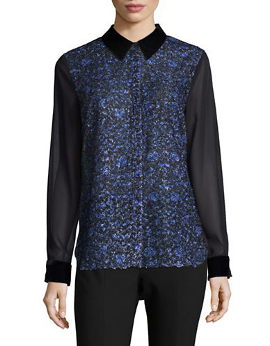 T Tahari Abstract Floral Blouse-BLUE-X-Small
