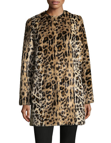 T Tahari Jenna Faux Fur Coat-MULTI-Medium