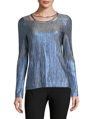 T Tahari Briella Metallic Chain-Trim Top-BLUE-Small