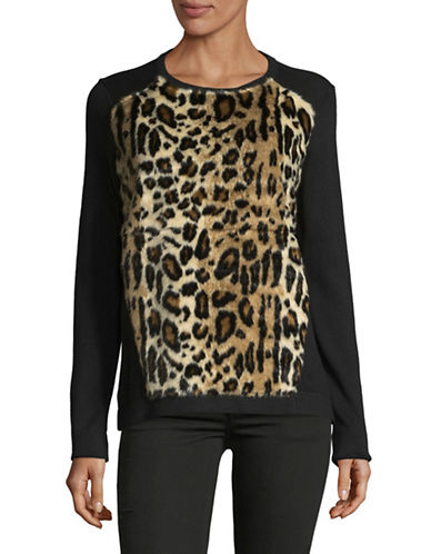 T Tahari Faux Fur Trim Sweater-BLACK-Large