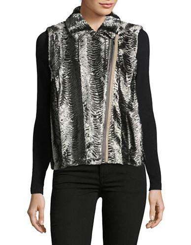 T Tahari Asymmetric Faux Fur Vest-SILVER-Large