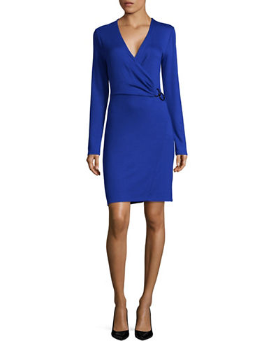 T Tahari Wrap Shift Dress-BLUE-X-Small