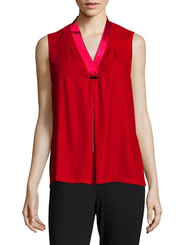 T Tahari Sleeveless Blouse-RED-X-Large
