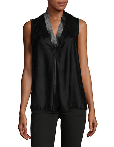 T Tahari Sleeveless Blouse-BLACK-X-Large