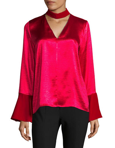 T Tahari Sheldon Satin Choker Blouse-RED-Small