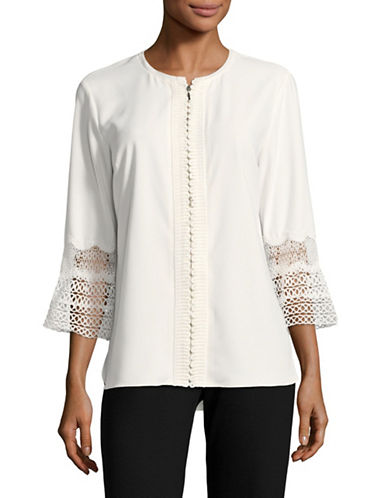 T Tahari Lace Cuff Blouse-NATURAL-Small