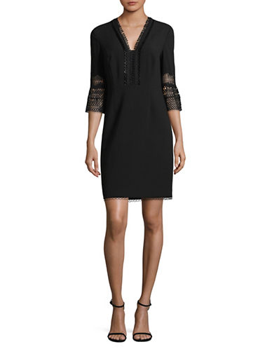T Tahari Bell Sleeve Crochet Dress-BLACK-6