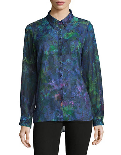 T Tahari Tropical Print Blouse-BLUE-Small