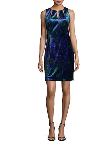 T Tahari Tropical Velvet Sheath Dress-BLUE-16