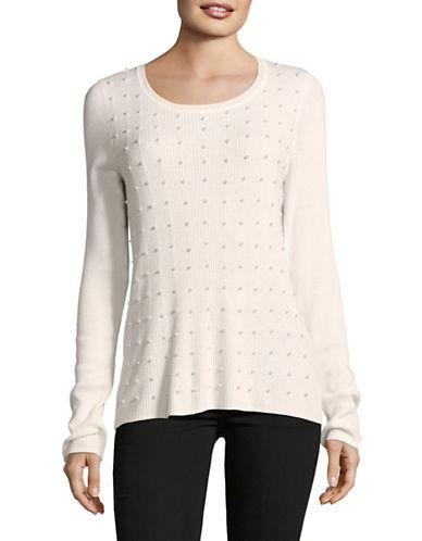 T Tahari Dikla Cotton Sweater-BEIGE-Small