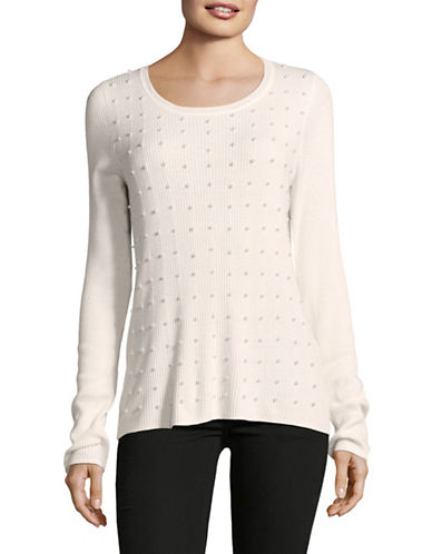 T Tahari Dikla Cotton Sweater-BEIGE-Large