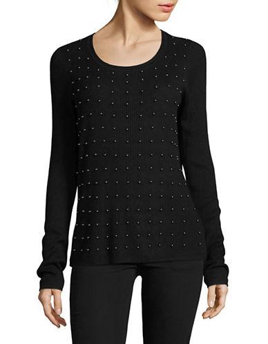 T Tahari Dikla Cotton Sweater-BLACK-Small