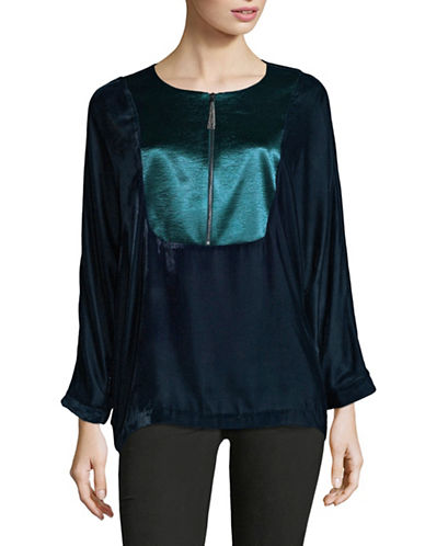 T Tahari Satin Panel Blouse-BLUE-Large