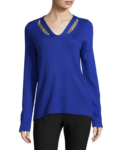 T Tahari Micky Sweater-BLUE-Small